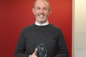 Andrew Warner with his Guide Award for Best Amateur Actor. Picture: Habibur Rahman
