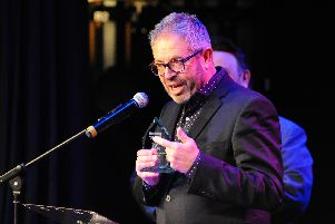 Paul Woolf, chief executive of The Kings Theatre gives a speech after accepting the Best Professional Production for The Play That Goes Wrong. Picture: Sarah Standing (280119-668)