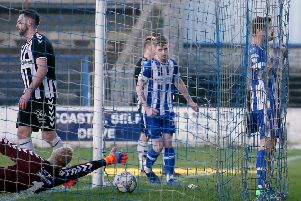 James McLaughlin enjoys finding the net for Coleraine in Saturday's Irish Cup sixth-round success. Pic by INPHO.