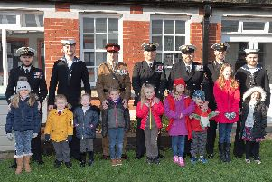 Millitary personnel with their children who attend Brockhurst School. Picture: Keith Woodland (020219-56)