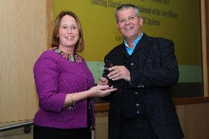 Georgina Mulhall, the headteacher of Gomer Junior School, being presented with the Amazing Educational Establishment of the Year Award at the EBP Souths Amazing People Awards last year'Picture: Sarah Standing (180852-2559)