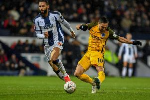Florin Andone equalised for Brighton & Hove Albion in their 2-1 away win in extra-time against West Bromwich Albion in tonight's FA Cup fourth-round replay. All pictures by PW Sporting Photography.