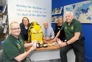 Solent World Travel and other businesses around Lee-on-the-Solent, helped raise 1,700 for a new response kit and defibrillator for Community First Responders for Lee-on-the-Solent and Gosport. Pictured is: (back left to right) Lynn Martin, Chris Dewey and Stephanie Glasspool from Solent World Travel with Community First Responders (front left to right) Michael Miotk and Alan Parry. Picture: Sarah Standing (040219-8354)