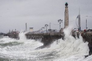 Strong winds and a fierce sea in Southsea on Friday morning'Picture: Habibur Rahman