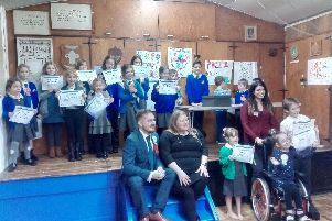 Terry Norton and Councillor Donna Jones (centre), Caroline Brennan (far right) alongside successful candidates elected for the Children's Parliament.