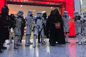 Star Wars characters gathered outside TK Maxx as part of a visit to Cascades Shopping Centre in Portsmouth to raise money for Comic Relief. Picture: Byron Melton