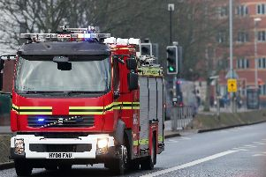 A Hampshire Fire and Rescue fire engine in Winston Churchill Avenue, Portsmouth. Picture: Chris Moorhouse (240119-9)