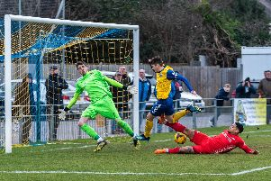 Ryan Pennery scores Gosport's first goal against Frome. Picture: Vernon Nash (090219-095)