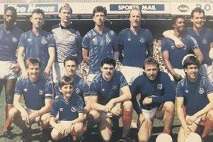 MOTELY BUNCH Mick Kennedy, front row, second left, with the 1986-87 Pompey promotion-winning team ahead of their final match against Sheffield United