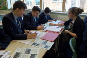 Vicky Lyons working with her GCSE class
