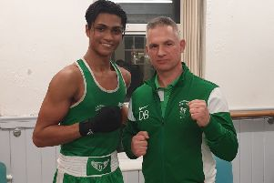 Ruhan Ahmed with West Hill Boxing Club coach Dave Bishop