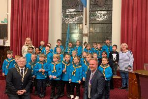 The 4th Hastings beavers on a visit to Hastings Town Hall with the Mayor, Cllr Nigel Sinden (left) and Deputy Mayor Cllr James Bacon SUS-190213-122128001
