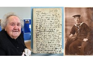 Joyce Mary Tipple, a letter from her mother Louise to her father Stanley Ward, and Stanley aged 16 'Picture:  Malcolm Wells (190213-3711)