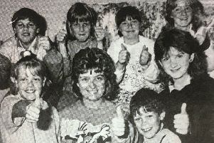 Youth leader Diane McClean with young people enjoying the Seagoe summer scheme in 1988.