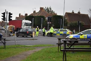 Emergency services at Polegate crossroads after the collision back in January