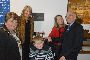 From left, mayor of Gosport Cllr Diane Furlong, Caroline Dinenage MP, James Shepherd (15), Nicole Dobbs (11) and Peter Patterson. Picture: David George