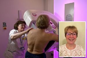Mandy Allen, inset, and a mammogram