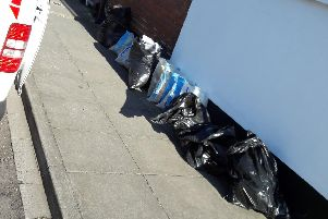 The bags of waste dumped by Kevin Wright in Fawcett Road in Southsea on July 2 in 2018