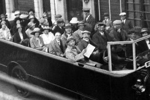 Pompey fans head to Wembley for the 1929 or 1934 cup final with the girls wearing their best hats and the men with neckwear. Photo: Barry Cox collection.