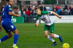 Joe Tomlinson in Bognor action against Lewes / Picture by Tommy McMillan