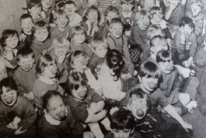 Sunnylands Nursery School children who wore red noses for Comic Relief. 1991.