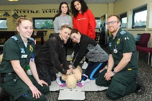 Active Leader students learn how to carryout CPR'(back l-r) Caitlyn Bryan (15) and Shazia Dongola (15) with (front l-r) student paramedic Emma House, Zachery France (13), Elise Taylor (13) and Darren McFarlane, student paramedic.''Picture: Sarah Standing (190219-9675)