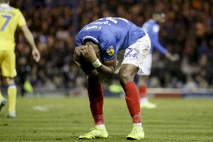 Agony for Omar Bogle as a fourth-consecutive draw drops Pompey further behind in the promotion race. Picture: Robin Jones/Digital South