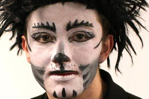 Sam Beer made-up as Munkustrap in Stage One Youth Theatre's Cats.