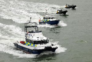 Hampshire police's marine unit fleet before two larger vessels were sold off.