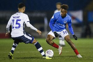 Jamal Lowe impressed following his introduction at half-time in the 3-0 Checkatrade Trophy success at Bury. Picture: Daniel Chesterton/phcimages.com