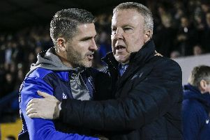 Bury boss Ryan Lowe, left, and Pompey manager Kenny Jackett. Picture: Daniel Chesterton