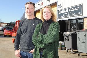 Urban Island Brewing Company, in Limberline Spur, Limberline Industrial Estate, Portsmouth 'Pictured: Guy Lymn with his partner and business partner, Hayley Wise'Picture: Habibur Rahman