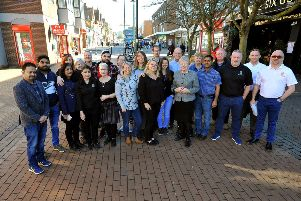 Councillor Anne Jones and local traders who want to get the message across that they are 'open for business' in Burgess Hill. Photo: Steve Robards SR1904867 SUS-190226-154314001