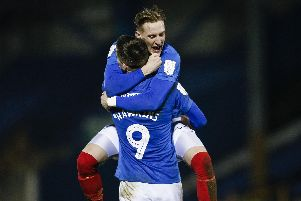 Ronan Curtis' goal against Bury on Tuesday night saw him move level with Jamal Lowe at the top of the Pompey scoring charts Picture: Daniel Chesterton