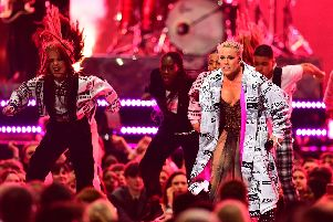 Pink performs on stage at the Brit Awards 2019