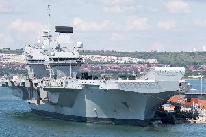 HMS Queen Elizabeth in the port. Photo by Matt Cardy/Getty Images