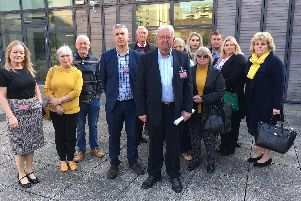 Parents and carers outside the Hampshire County Council offices, following the meeting on Orchard Close's future this week. Picture: Save Orchard Close
