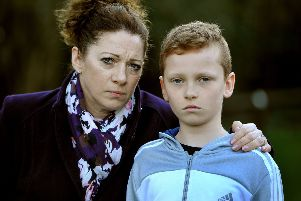 Claire Thorne with son Ellis, 10