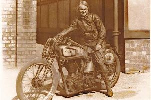 Beatrice Shilling OBE, from Waterlooville, with her Norton motorcycle. Picture: Havant Borough Council
