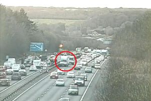 A van has broken down on the M27 between junction 9 and 10 eastbound. Picture: Highways England