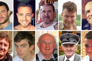 Pictures of (top row left to right) Matthew Grimstone, Matt Jones, Mark Reeves, Tony Brightwell and Mark Trussler, (Bottom row left to right) Dylan Archer, Richard Smith, Graham Mallinson, Maurice Abrahams and Daniele Polito, who died in the Shoreham Airshow crash. Picture: Family handout/PA Wire