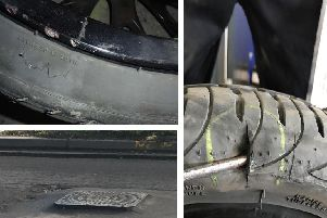 Left, Sharon Lewis' cracked wheel and her picture of one of the raised ironworks and right, Tony Storey's split tyre