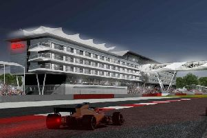 An artist's impression of how the new trackside Hilton Hotel will look at Silverstone