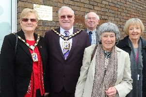 A plaque was unveiled by The Mayor of Havant Peter Wade at Waterlooville Library to commemorate aeronautical engineer and racing driver Beatrice Shilling OBE. ''Pictured is: (l-r) The Mayoress of Havant Janet Wade, The Mayor of Havant Peter Wade, Geoff Smith from U3A, Adele Mallows and Cllr. Ann Briggs.''Picture: Sarah Standing (080319-1316)