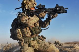 A soldier with the 4th Mechanised Brigade is pictured engaging the enemy during Operation Qalb in Helmand, Afghanistan. Photo: MoD