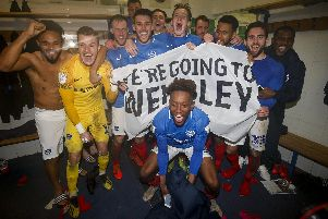Pompey players celebrate in the changing room after winning the Checkatrade Trophy Semi Final match against Bury. Picture: Daniel Chesterton