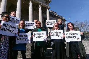 Unison members outside Portsmouth Guildhall on Monday