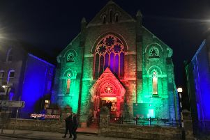 Spilsby Methodist Church bathed in colour for Spilsby Light Night.