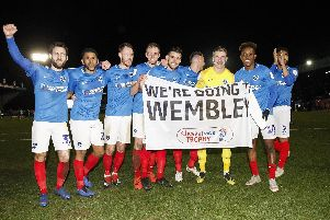 Pompey toast reaching Wembley after defeating Bury in the Checkatrade Trophy semi-finals. Picture: Daniel Chesterton/phcimages.com