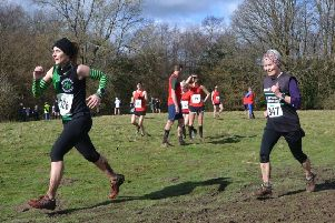 Shana Burchett (left) and Sarah Marzaioli tackle the final round of the East Sussex Sunday Cross-Country League event at Pett